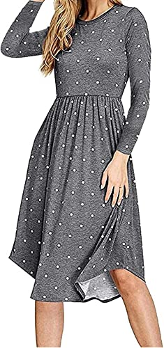 HAOMEILI Women Long Sleeve Pleated Polka Dot Pocket Swing Casual Midi Dress