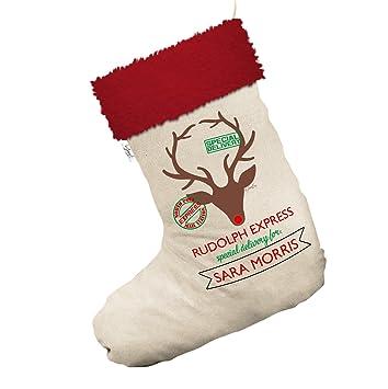 Personalizado Rudolph Express delivery Jumbo blanco medias calcetines de Navidad con ribete de color rojo: Amazon.es: Hogar
