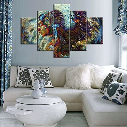 Amazon.com: Large Ancient Native American Painting on Canvas 5 Piece ...
