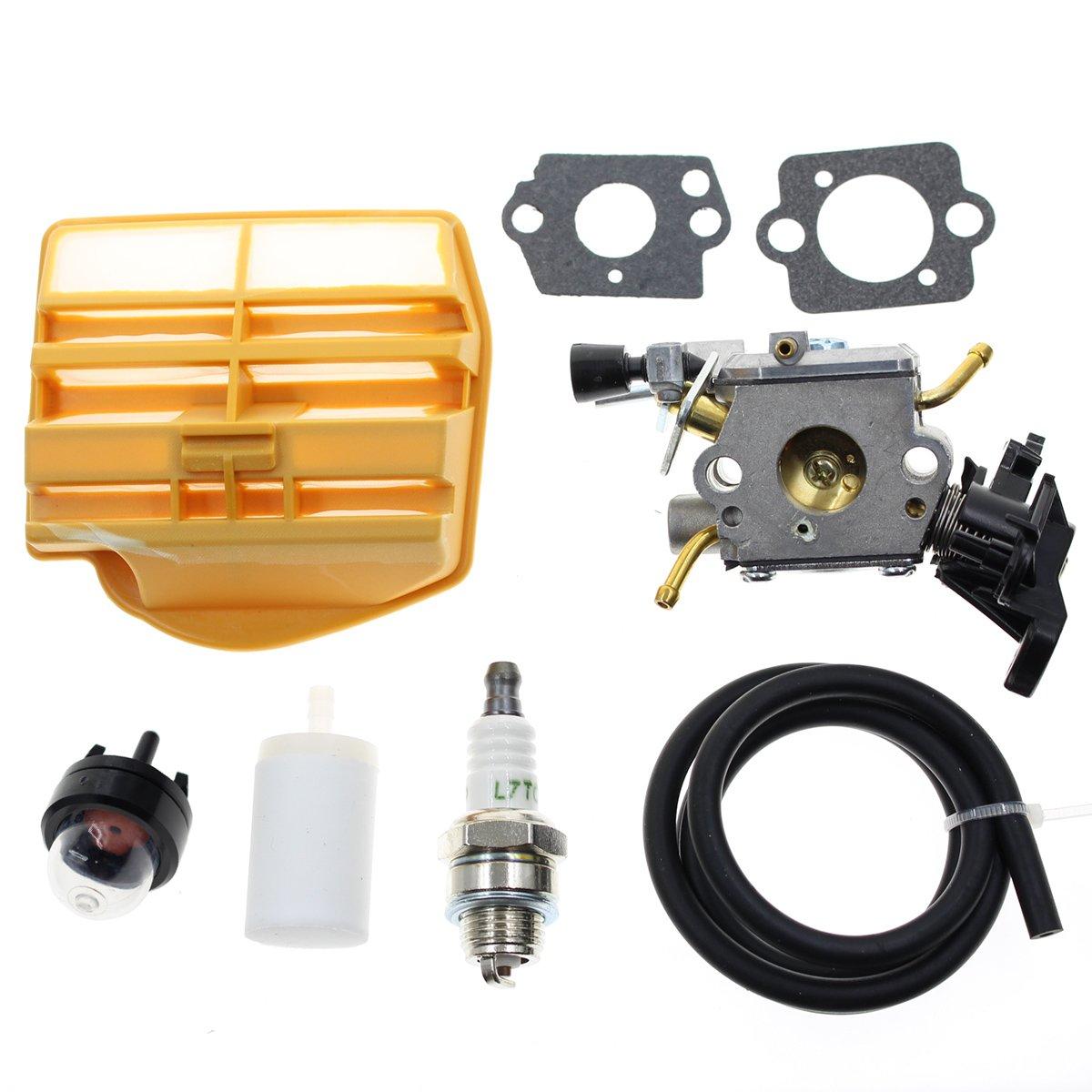 Carbhub C1M-EL37B Carburetor for Husqvarna 445 445E 450 450E Gas Chainsaw with Air Filter Tune Up Kit by Carbhub
