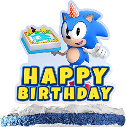 Amazon Com Blue One Cartoon Character Cake Topper Happy Birthday Video Game Theme Acrylic Decor Picks For Baby Shower Birthday Party Decorations Supplies Toys Games
