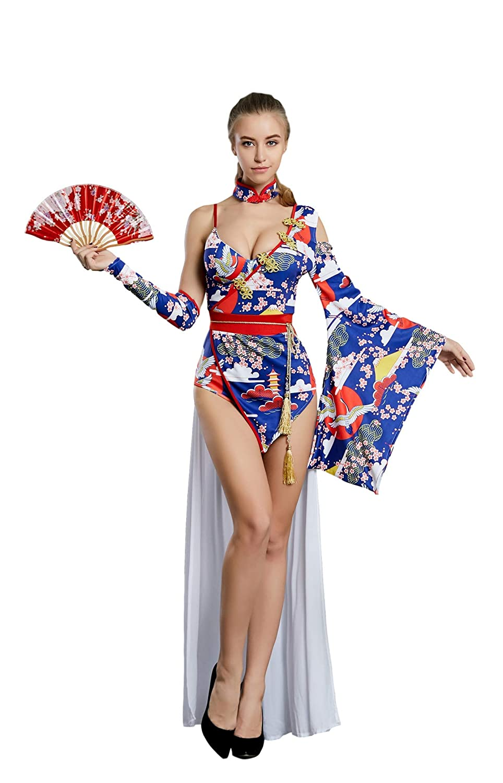 2 Types Bodysuit Jumpsuit Halloween ORIENTAL RAYS Womens Kimono Costume with Hand Folding Fan