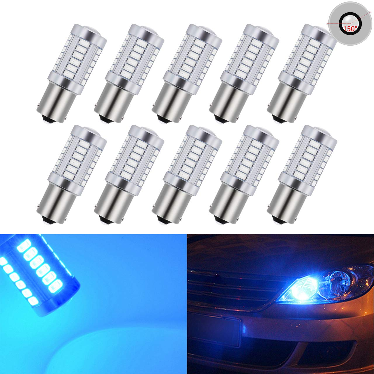 KATUR 10pcs 1156 BA15S 1141 7056 5630 33-SMD Amber 900 Lumens 8000K Super Bright LED Turn Tail Brake Stop Signal Light Lamp Bulb 12V 3.6W