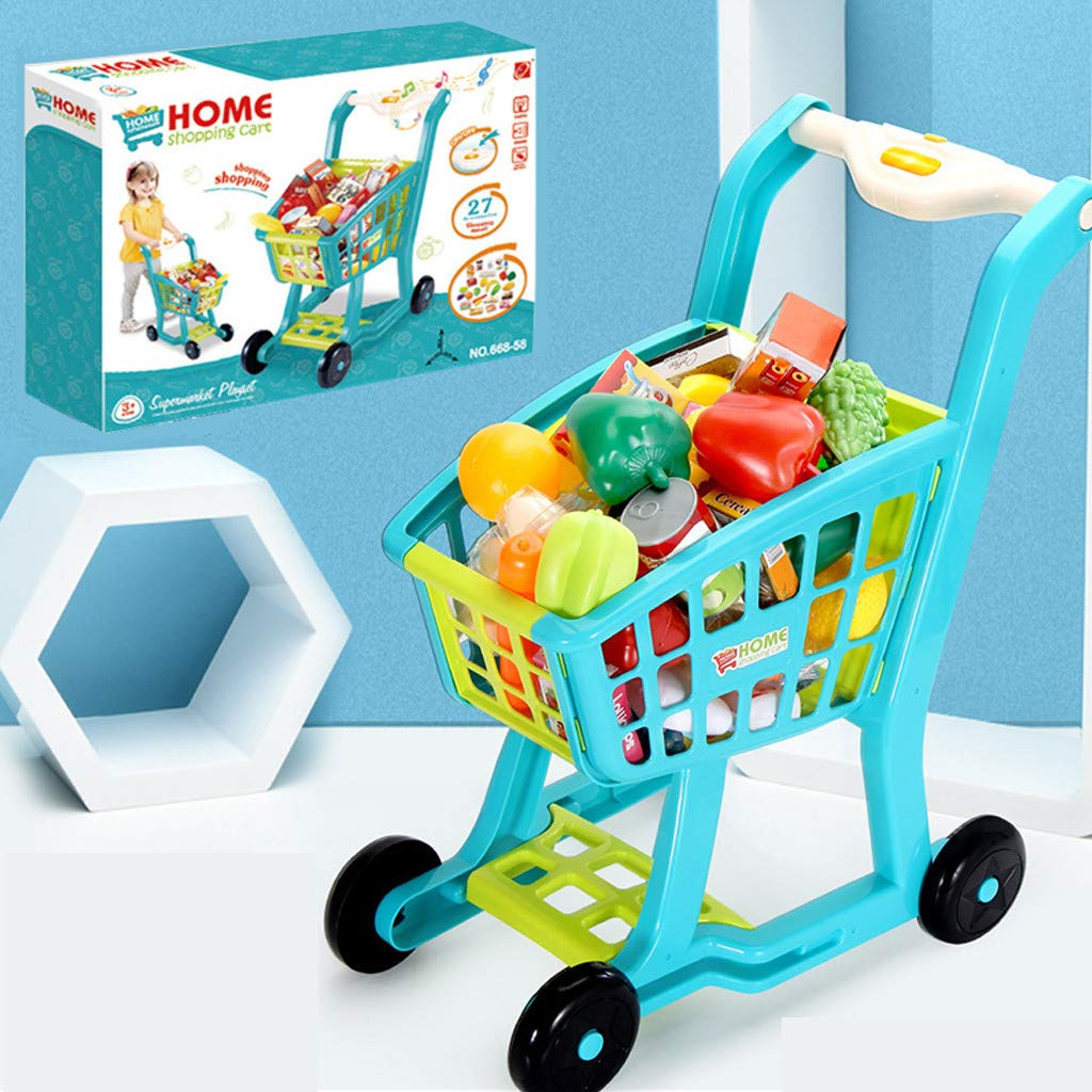 Besde Toys Children's Shopping Cart Toy Pretend Play Toy, Simulation Supermarket Toy with Groceries, Mini Shopping Cart with Full Grocery Food Toy Playset Educational Gift for Girls Kids (Blue) by Besde Toys (Image #2)