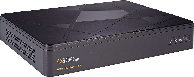 Q-See QT874-2 4-Channel 4MP H.265 HD IP NVR with 2 TB Hard Drive, Standalone Surveillance System (Black