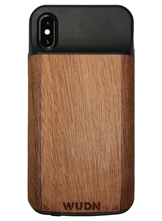 save off 92120 923df Amazon.com: WUDN Wooden iPhone X Battery Charging Case with Built-in ...