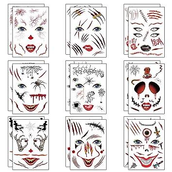 Makerfire Tatuajes temporales (18 Hojas, 21 x 15cm) de Halloween ...