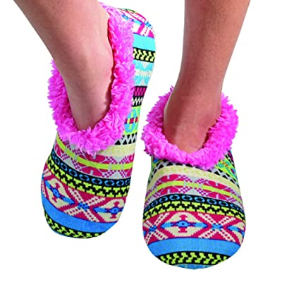 Snoozies Womens Comfy Soft Nordic Knit Fleece Slipper Socks - Pink/Blue, Small | Slippers