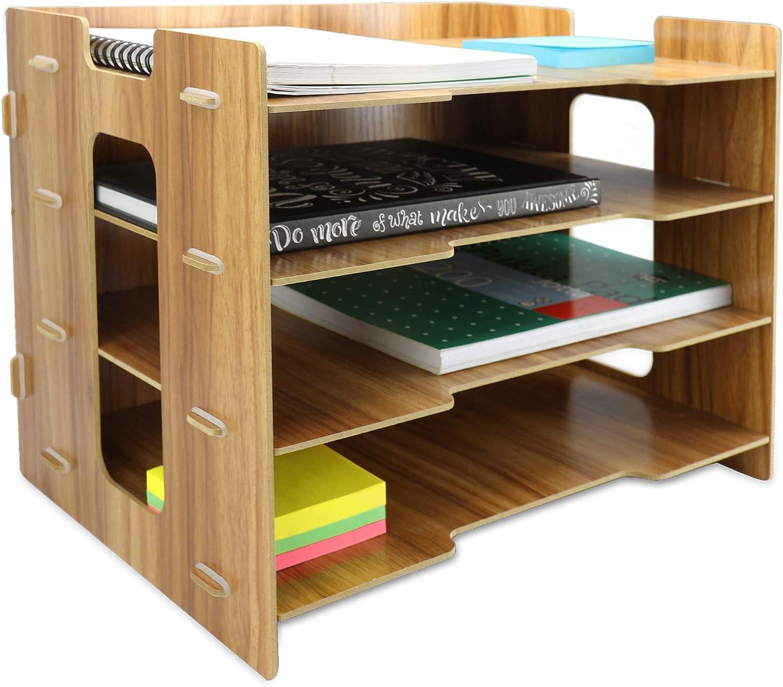 A4 Document Desk Organizer Pukkr Letter Rack Organizer da scrivania in legno Vassoi per archiviazione in legno Deposito di cancelleria per ufficio 4 divisori