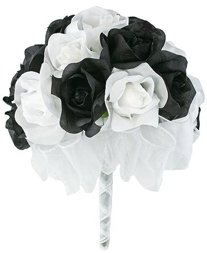 038dacd89 Amazon.com: Black And White Silk Rose Hand Tie 2 Dozen Silk Roses ...