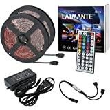 [New Version] Laimante RF Controlled Led Strip Lights, 32.8ft/10m 5050 RGB Rope Tape Lights, Non-Waterproof, DC12V Color Changing Strip Lights kit with RF Remote Controller and UL Power Adapter