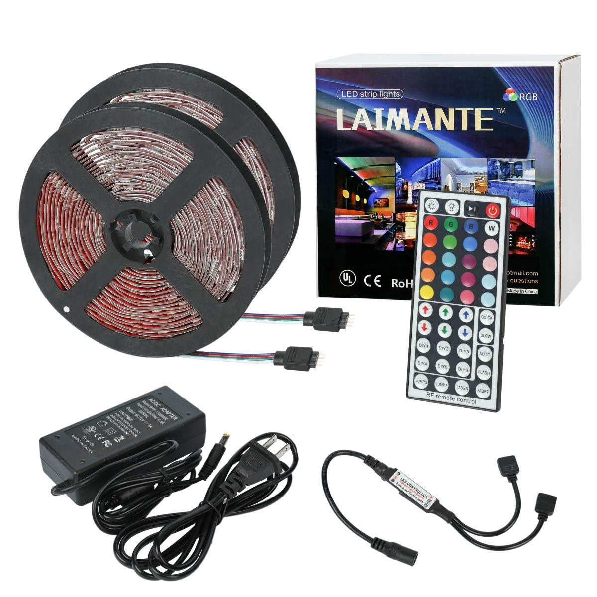 32.8ft 5050 RGB Rope Lights Non-Waterproof Laimante Led Strip Lights DC12V Color Changing Strip Lights kit with RF Remote Controller and UL Power Adapter