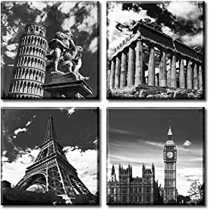 Black and White Building Wall Art for Living Room Contemporary European Famous Architecture Leaning Tower of Pisa Eiffel Parthenon & London Elizabeth City Big Ben Canvas Pictures Paintings Decor Stretched and Framed Ready to Hang