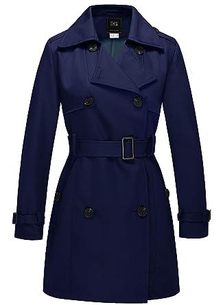 ZSHOW Femme Trench Coat Veste Double Boutonnage avec Ceinture Blouson  Automne Printemps Manteaux Bleu Marine Small f5f34efb5e9