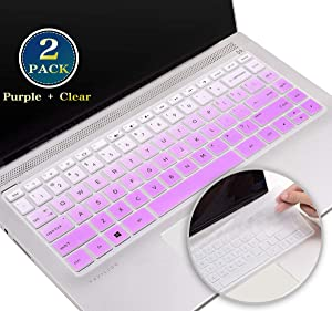 for HP Pavilion x360 Keyboard Cover 14 Inch, Silicone Keyboard Skin for HP 14 Inch Laptop Series 2020 2019 2018,HP Newest 14 Inch Laptop Protective Skin Accessories(Purple+Clear)