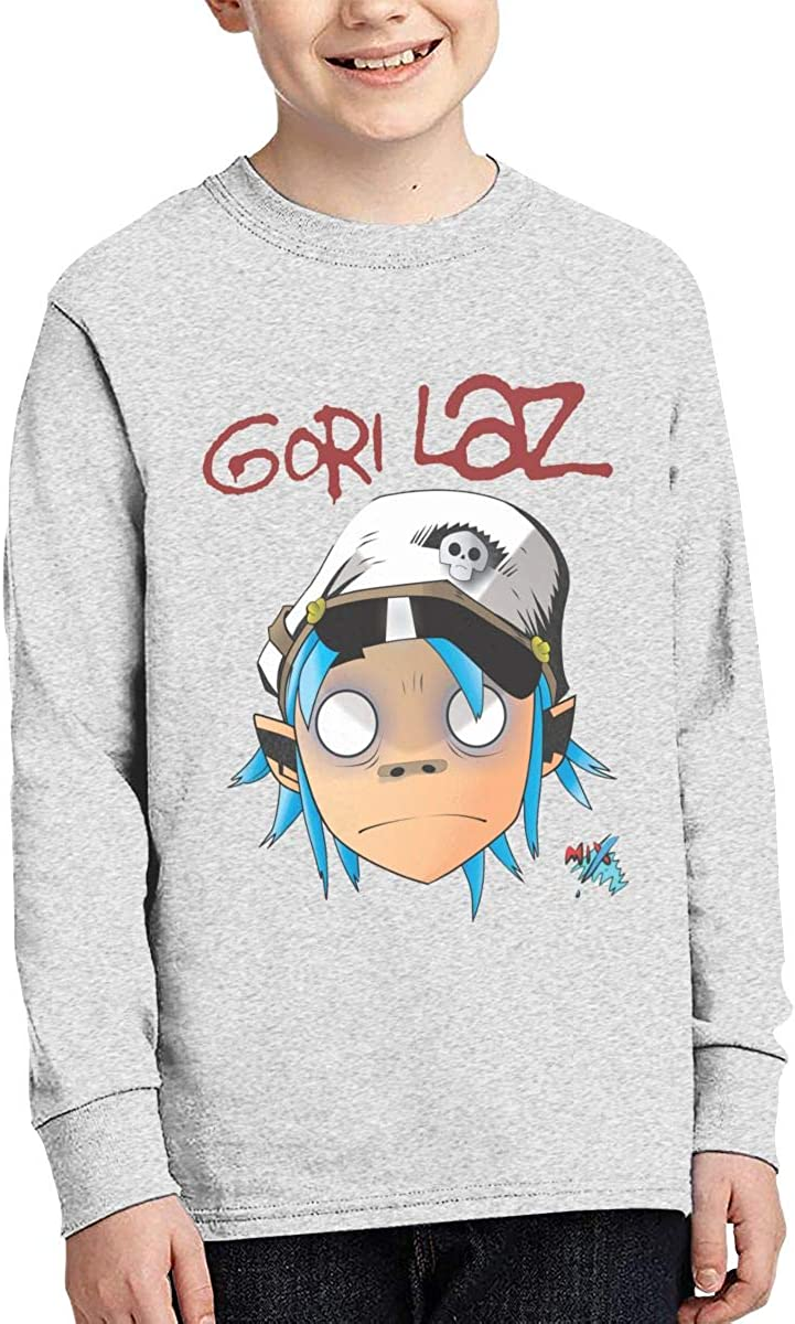 Gorillaz Teens Long Sleeve Cotton T-Shirt Youth Crew Neck Casual Boys Top