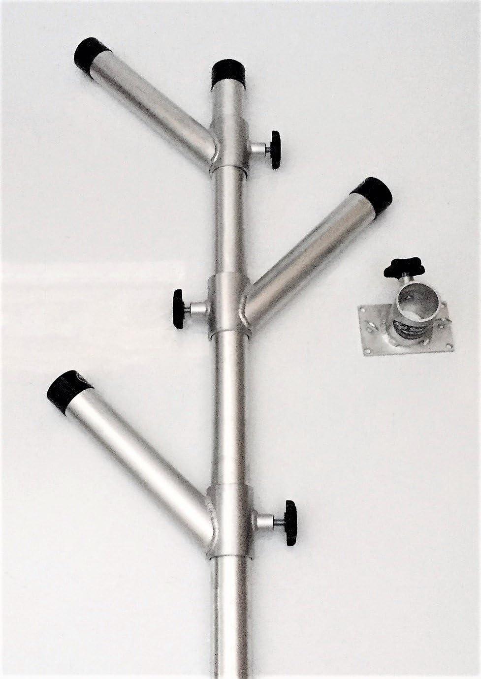 Rod Holder Adjustable Tree Triple Unit with Base Stainless Steel Fishing Holders