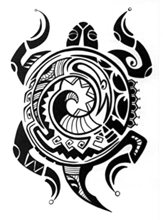 4b72e54e4cf20 Amazon.com : Large Polynesian Tribal Turtle Temporary Tattoo / Set of 3 : Hawaii  Tattoo : Beauty