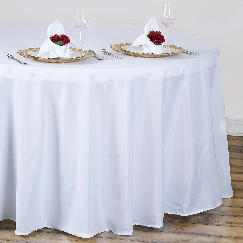 Amazon efavormart white 120 round polyester tablecloth home amazon efavormart white 120 round polyester tablecloth home kitchen solutioingenieria Choice Image