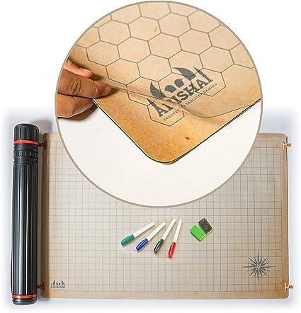 """24/"""" x 36/"""" Double Sided Neoprene Mat Plus Dry Erase PVC RPG Battle Grid Mat"""