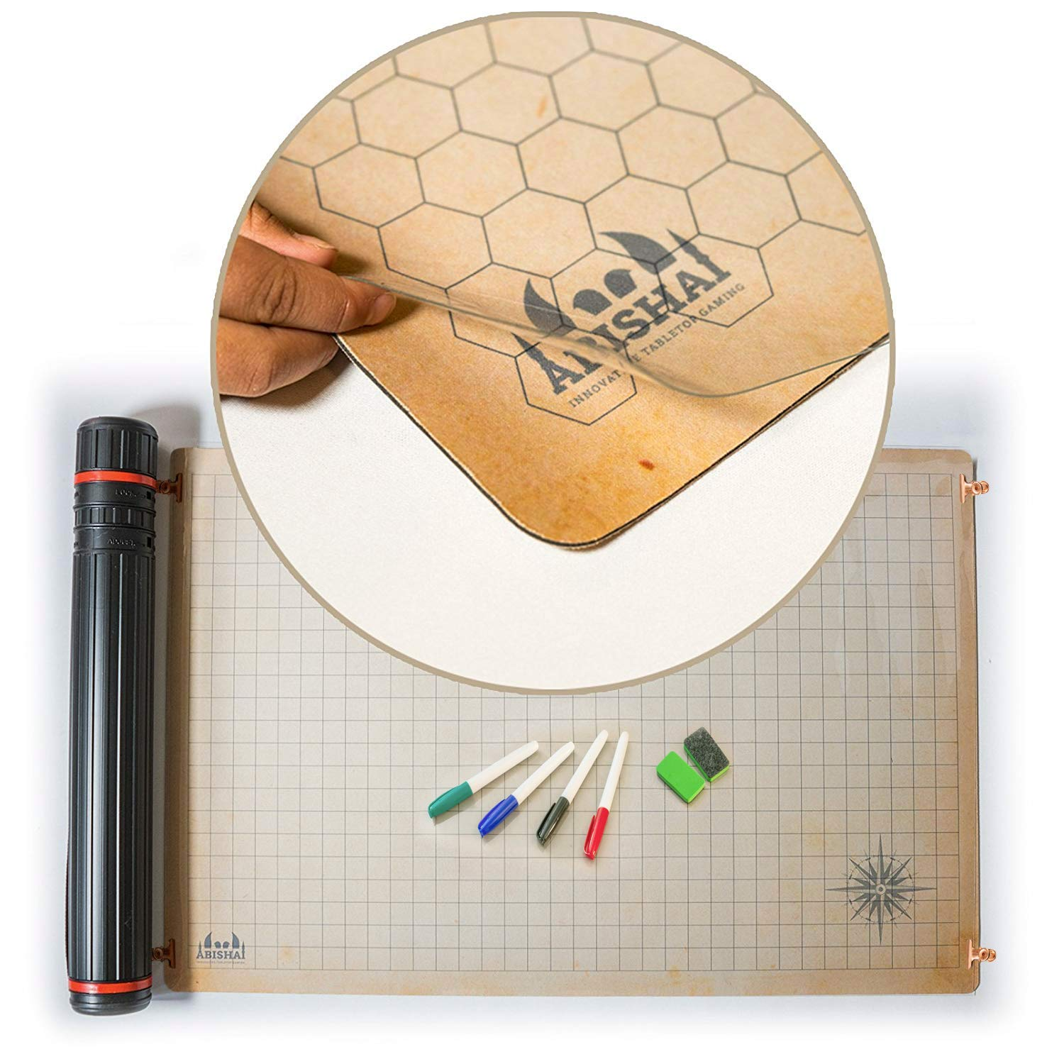 RPG Battle Grid Mat - 24'' x 36'' Double Sided Neoprene Mat Plus Dry Erase PVC Film - Table Top Role Playing Map - DnD Role Play - Dungeons and Dragons Maps Tiles - Tabletop Gaming Mat