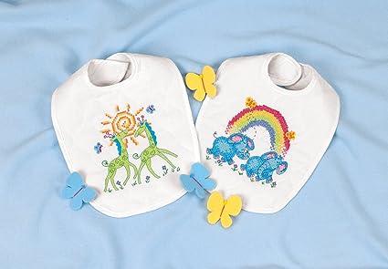 Dimensions Stamped Cross Stitch Noah S Ark Elephant And Giraffe Diy Baby Bibs 2 Pc 9 X 14