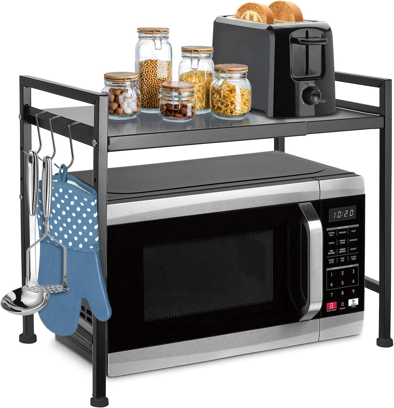 Microwave Oven Rack Stand with Adjustable Storage Shelving Unit 66lbs Capacity - Expandable Length & Height - with 3 Hooks for Kitchen Countertop Organizer HG526