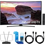 "Samsung Curved 55"" 4K Ultra HD Smart LED TV (2017 Model) - UN55MU6500 w/ TV Cut The Cord Bundle Includes, Durable HDTV & FM Antenna, 2x 6ft. High Speed HDMI Cable & Screen Cleaner for LED TVs"