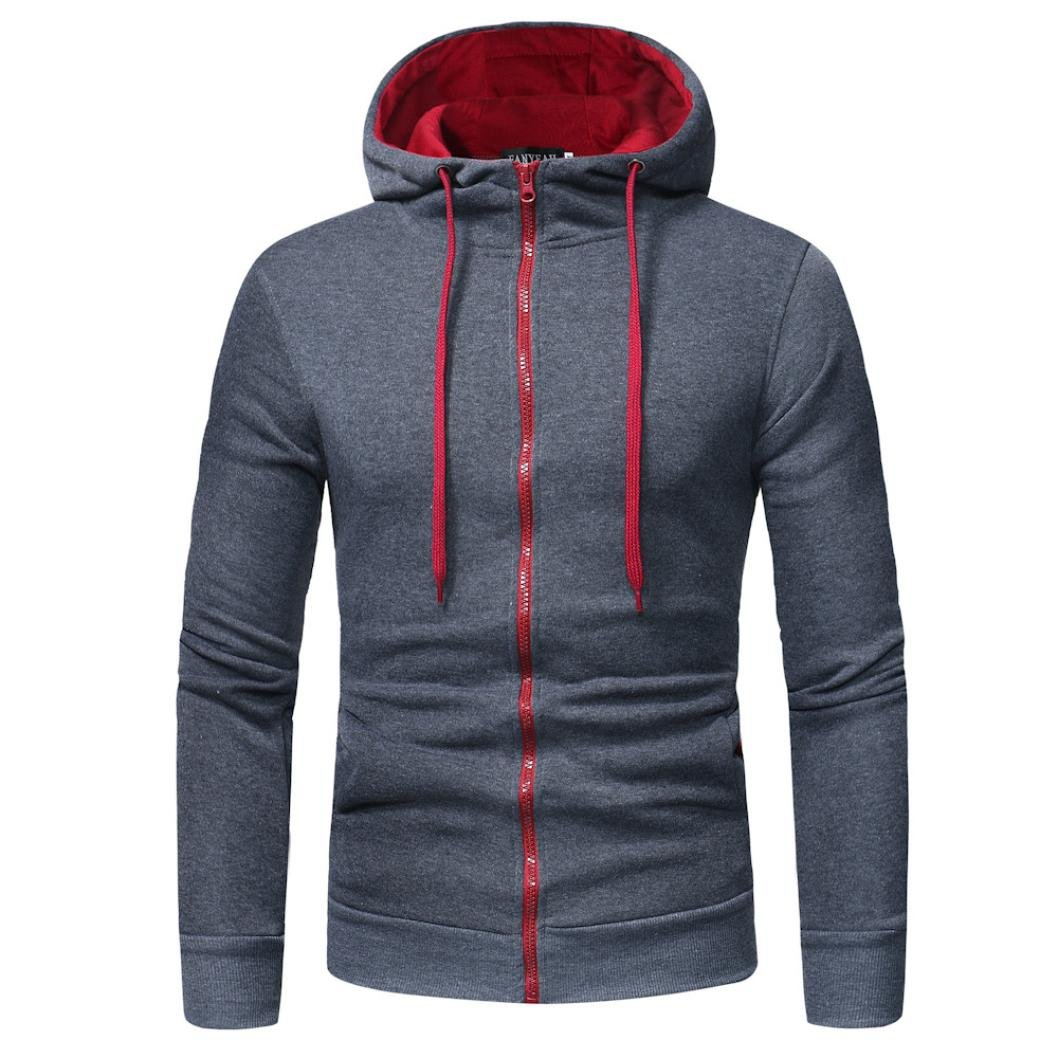 HTHJSCO Men's Eco Zip Hoodie Sweatshirt, Mens' Long Sleeve Hoodie Hooded Sweatshirt Tops Jacket Coat Outwear (Dark Gray, XXXL) by HTHJSCO