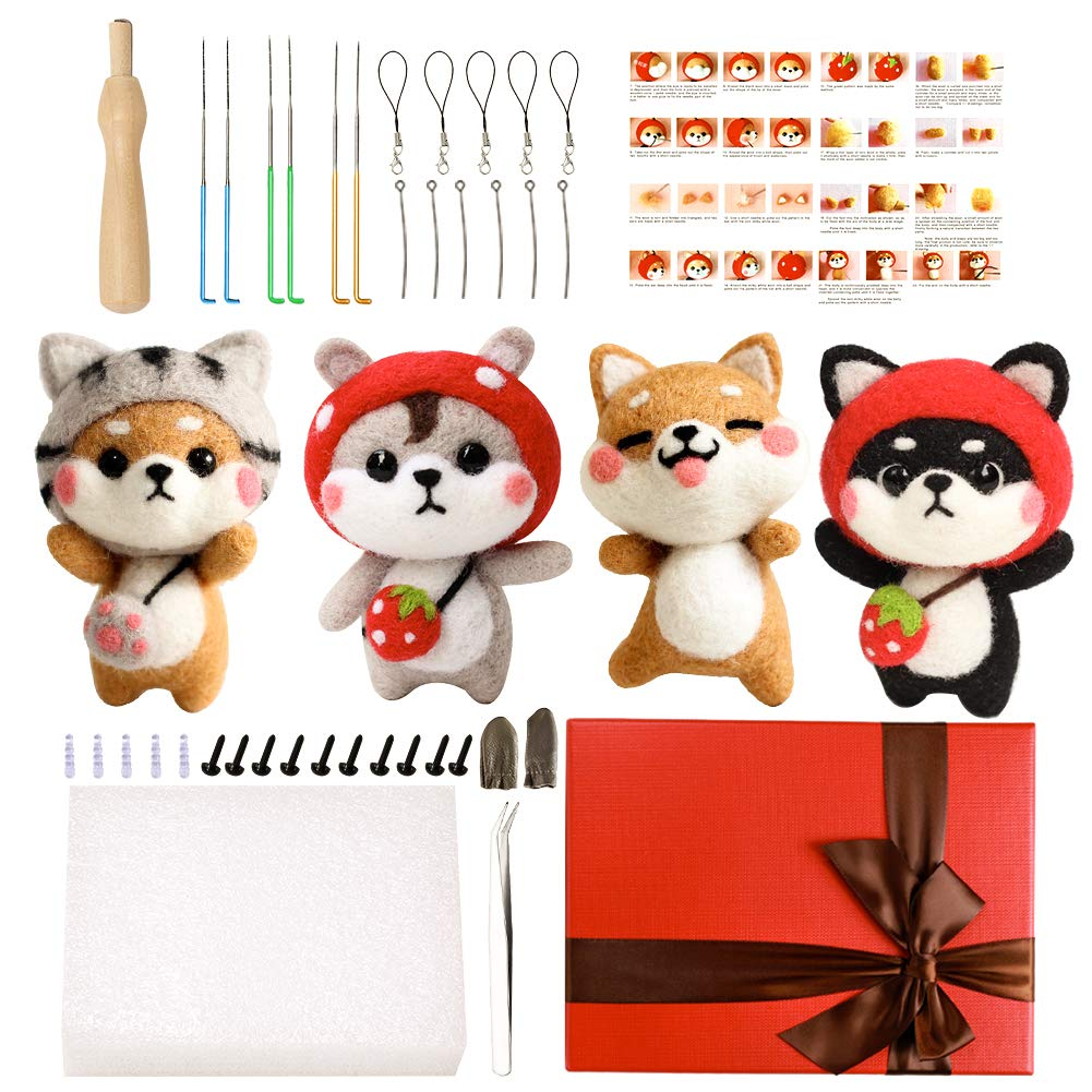 Other Festival and Crafts Needle Felting Kit for Beginners Needle Felting Starter Kit with 6 Pcs Colorful Needle Felting Needles and Instructions Wool Felting Supplies for Christmas Childrens Day