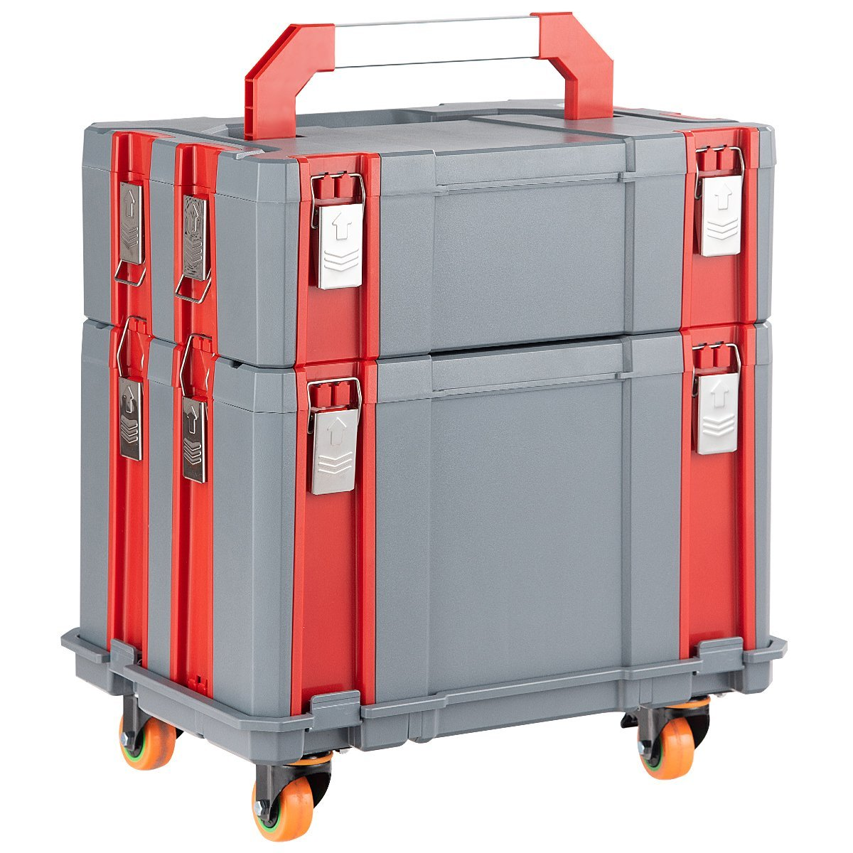 Goplus Detachable Tool Box Portable 3-part Organizer with 4 Wheels, 3 Handles Mobile Demountable Removable Tool Storage Box Set for Home, Garage and Work Shop by Goplus (Image #8)