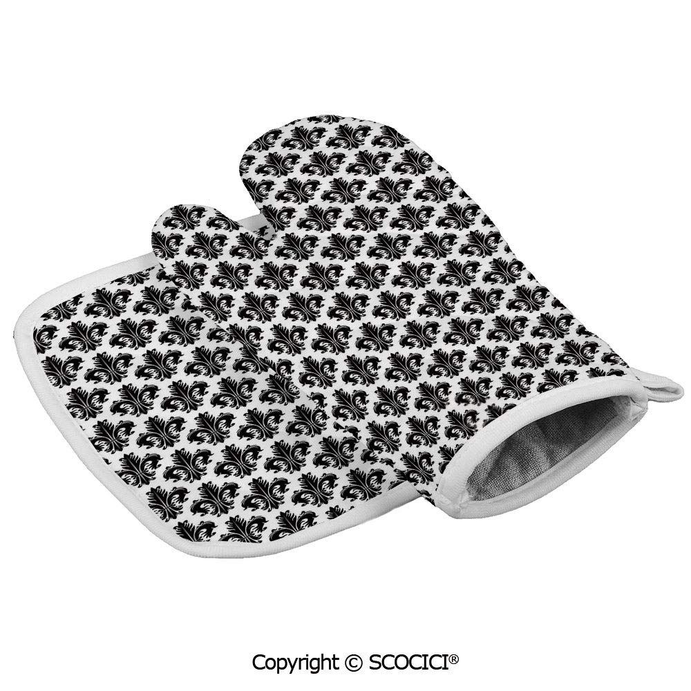 SCOCICI Oven Mitts,Professional Heat Resistant Monochrome Royal Lily Pattern Victorian Inspiration Ornamental Vintage Design Non-Slip Kitchen Oven Glove for Cooking,Baking,Barbecue Potholders