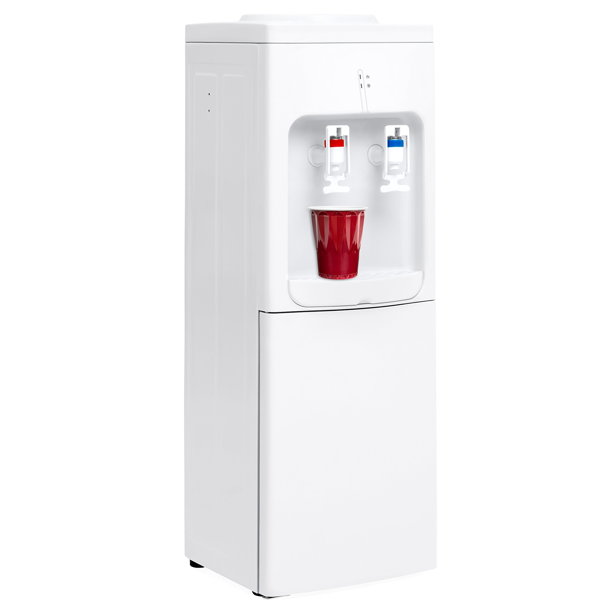 Best Choice Products 5-Gallon Top Loading Bottle Hot Cold Water Cooler Dispenser w/ 2 Safety Switches, Storage Cabinet, Durable Frame - White