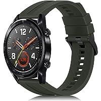 Fintie armband compatibel met Huawei Watch GT 2, 46 mm, Huawei Watch GT/Huawei Watch GT 2e Smartwatch - 22 mm silicone horlogeband verstelbaar reserveband met roestvrijstalen gespen, olijfgroen