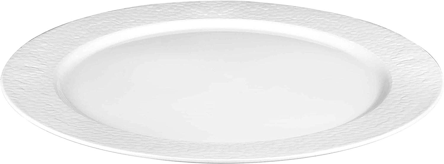 Lillian Tablesettings Round Pebbled Tray 2-Pack Pearl 14-Inch
