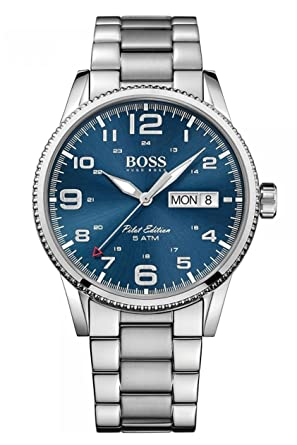 0fc3a5745 Image Unavailable. Image not available for. Color: Hugo Boss Pilot Vintage  1513329 Silver / Blue Stainless ...