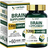 Lion's Mane Capsules, 60 Capsules Brain Booster Supplement for Boosting Energy and Memory, Brain Pills for Nootropic Power &