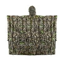 Outdoor Adults 3D Leaves Camouflage Poncho Camo Cape Cloak Stealth Ghillie Suit Military CS Woodland Hunting Clothing Free Size