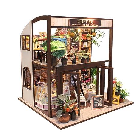 Amazon Com Asidiy 3d Wooden Miniature Diy Coffee House Kit With