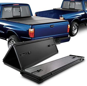 Fits 1983 2011 Ford Ranger 1994 2010 Mazda B2300 2500 3000 4000 6 Feet 72 Inches Bed Hard Tri Fold Black Tonneau Cover Tonneau Covers Amazon Canada