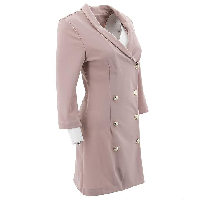 Netgozio Chaqueta Blazer Mujeres largo vestido de tela doble de pecho  Casual fucsia elegante de moda atractiva un tamaño  Amazon.es  Ropa y  accesorios 85e6b06e3f71