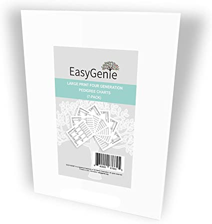 EASYGENIE Large Print Genealogy Charts and Forms Kit Includes 1... 30 Sheets