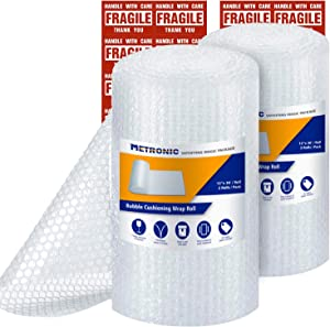 "Metronic 3/16"" Small Bubble Roll- Perforated 12×12, 2 Rolls 72 Ft Air Bubble Cushioning Roll, Included 20 Fragile Sticker Labels for Packing Moving Shipping Boxes Supplies"