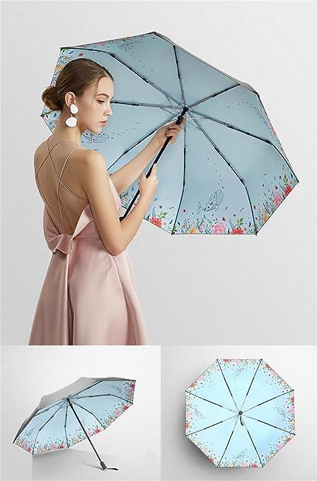 Tres sombrillas Plegables, Paraguas UV plásticos de Protección Solar de plástico, se Pueden Utilizar