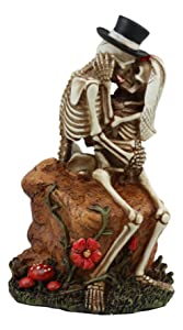 "Ebros Lover Never Dies Wedding Skeleton Couple Kissing In The Garden Statue 6""Tall Day Of The Dead Romantic Skeletons Figurine"