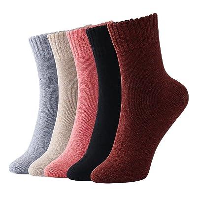 Beauttable Women's Thick Knit Warm Casual Soft Wool Cozy Crew Winter Socks, 5 Piece