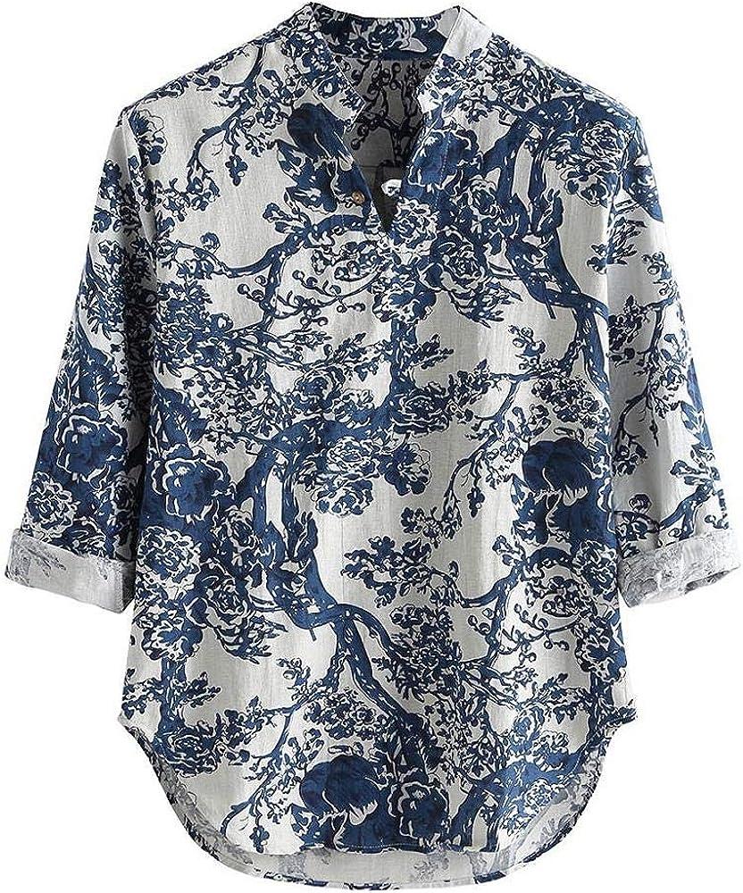VJGOAL Camisa Hawaiana Estampada para Hombre Verano Manga Tres Cuartos de algodón Lino Tops Botones con Cuello en v Flojos Ocasionales Blusa de la Camiseta: Amazon.es: Ropa y accesorios