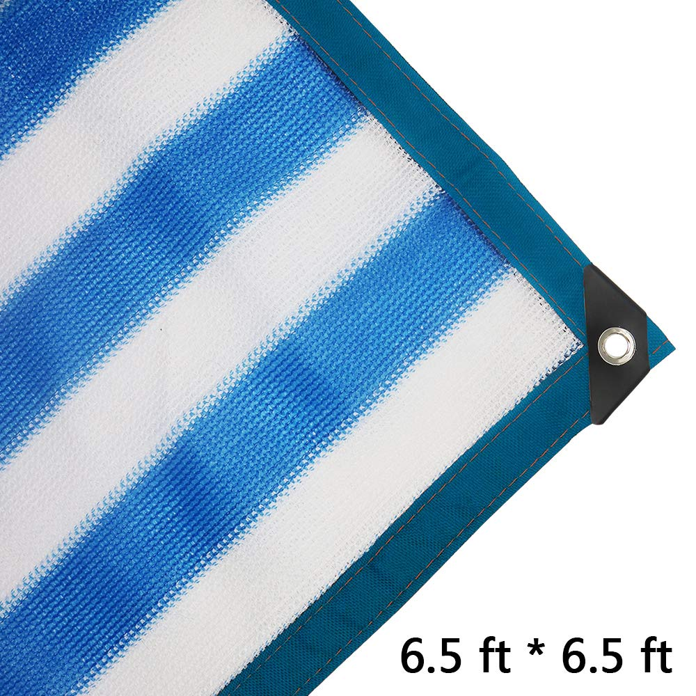 JIWINNER 6.5 x 6.5 Sunblock Shade Cloth aped Edge Grommets with 85 UV Protection, for Garden Flower Plant, Greenhouse, Barn Kennel Blue-White