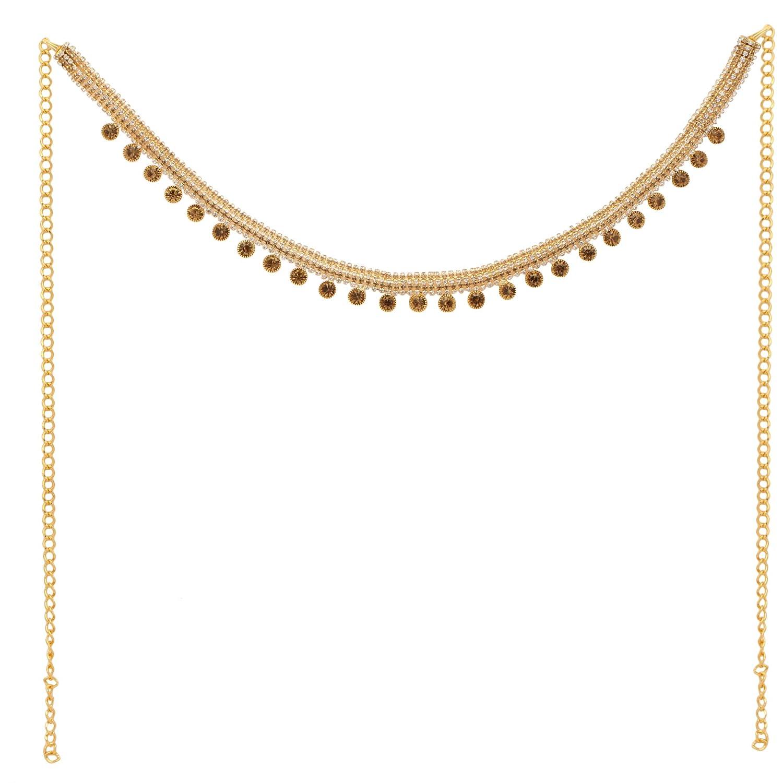 Jwellmart Women's Ethnic Collection Stone Pearl Saree Waist Belt Kamarbandh Golden JMSB157