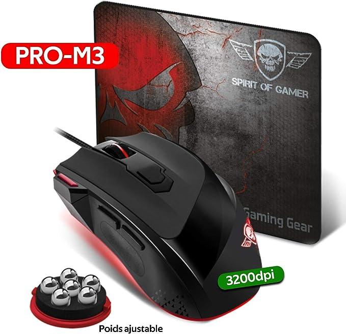 Spirit Of Gamer Pack Alfombra + Ratón Pro-M3 Retro Iluminación ...